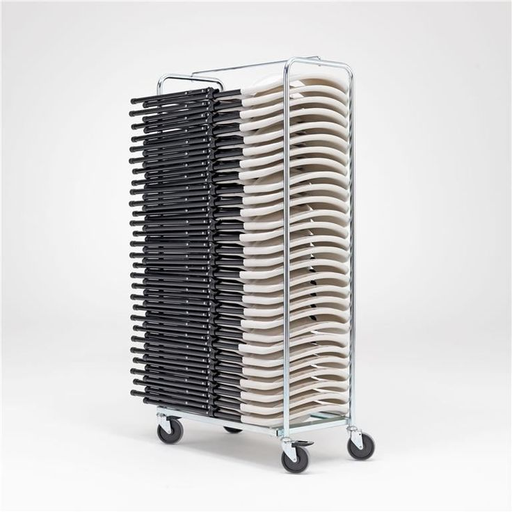 For transportation of multiple folding chairs, a chair trolley can be used at workshops and offices. These trolleys are available in several sizes and capacities.
