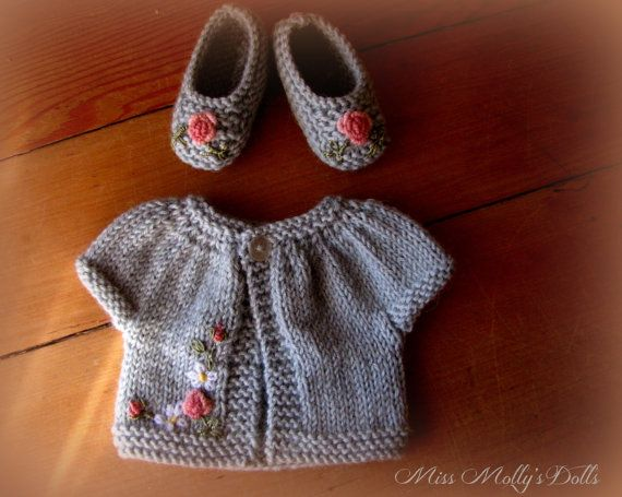 Knitted Dolly Sweater & Shoe Set