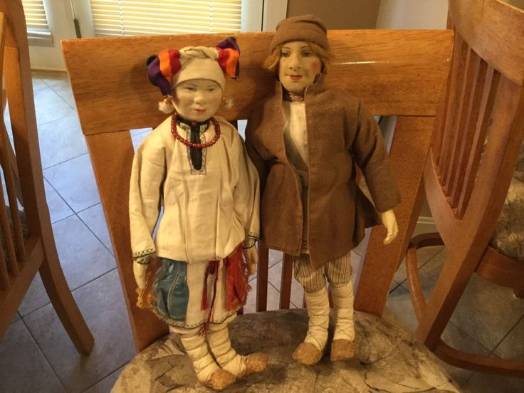 "Large Pair Antique Russian Cloth 15"" Mordwa Labelled Soviet Union Dolls Orig 