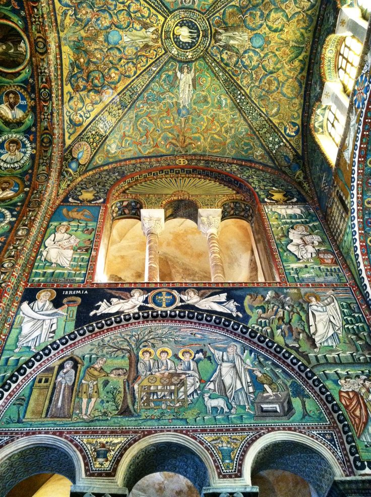 Ancient mosaics inside Basilica San Vitale in Ravenna, Italy