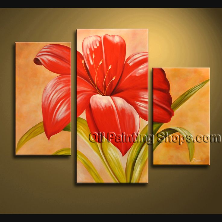 Stunning Contemporary Wall Art Oil Painting On Canvas Panels Gallery Stretched Flower. This 3 panels canvas wall art is hand painted by Bo Yi Art Studio, instock - $128. To see more, visit OilPaintingShops.com
