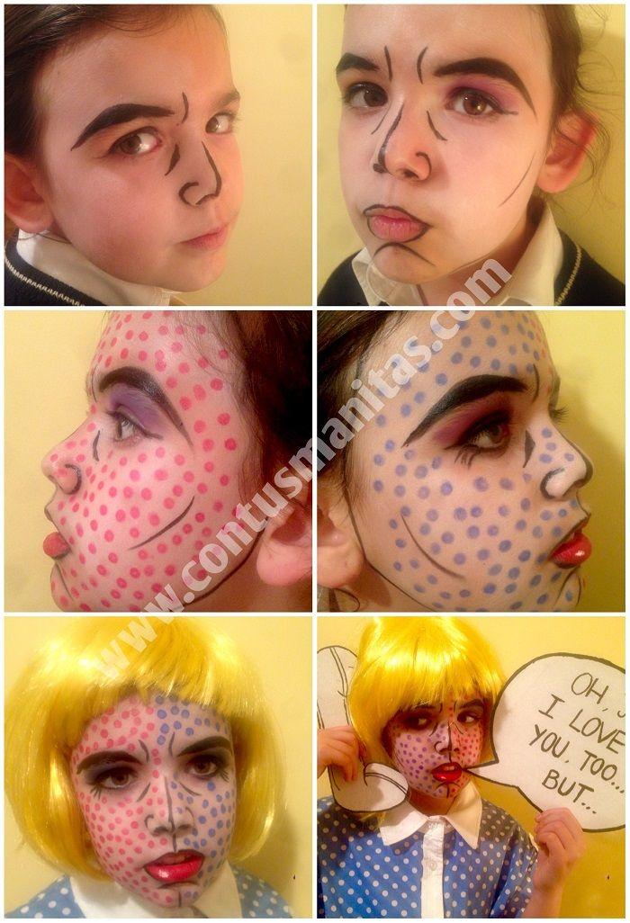 Roy Lichtenstein costume, comic costume, best handmade costume, makeup tutorial
