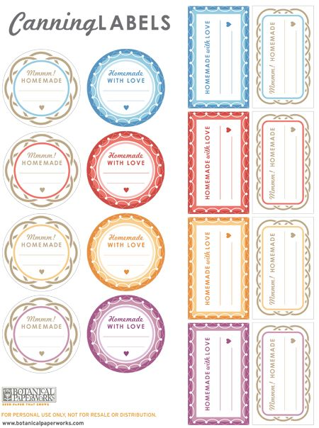Free canning jar labels from botanicalpaperworks.com