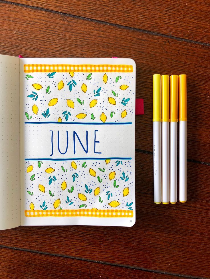 "Monatliche Titelseite zum Thema ""Zitrone im Juni"" #junecoverpage #bulletjournaling #monthlycoverpage #bulletjournal"
