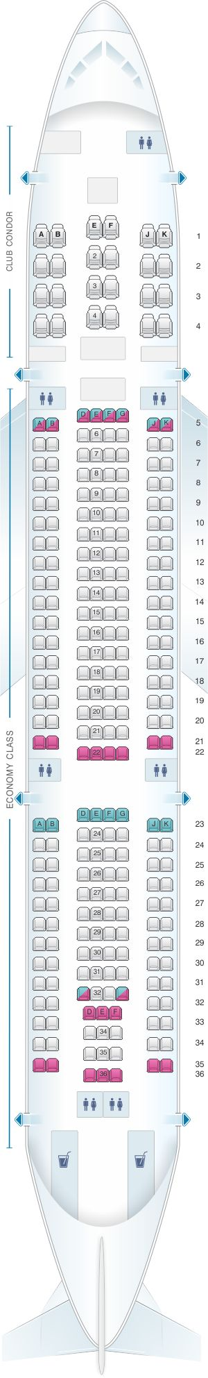Seat Map Aerolineas Argentinas Airbus A330 200
