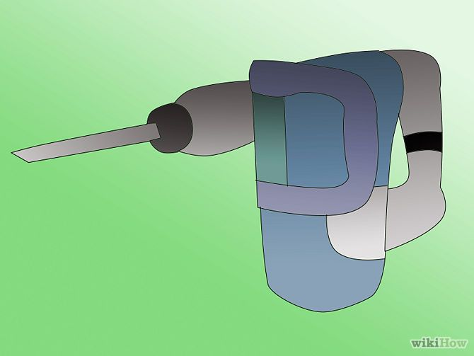 Remove Floor Tile Step 2Bullet3.jpg *electric demolition chipping hammer*