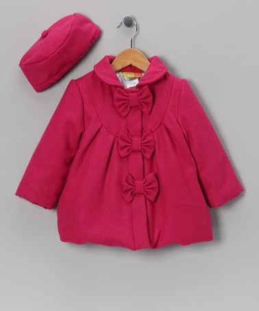 Take a look at this Pink Bow Coat & Hat - Girls by Penelope Mack on #zulily today!