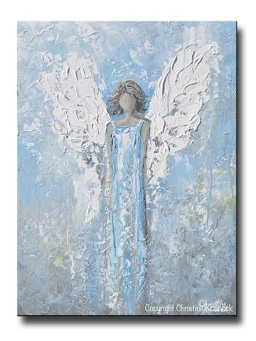 GICLEE PRINT Abstract Angel Painting Art Light Blue White Guardian Angel Palette Knife Fine Art Spiritual Wall Art – Sam