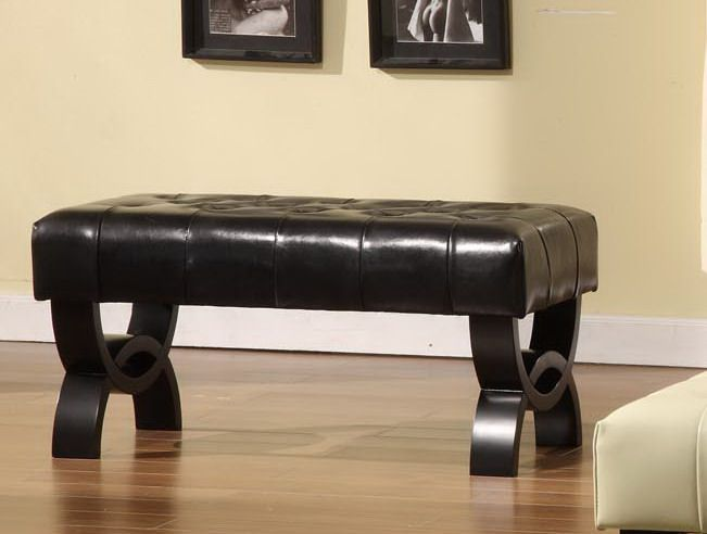 Armen Central Park 36in. Tufted Black Leather Ottoman.