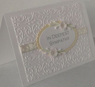 Embossed sympathy card-Beautiful! Prefer all white or different colour scallop oval I think.