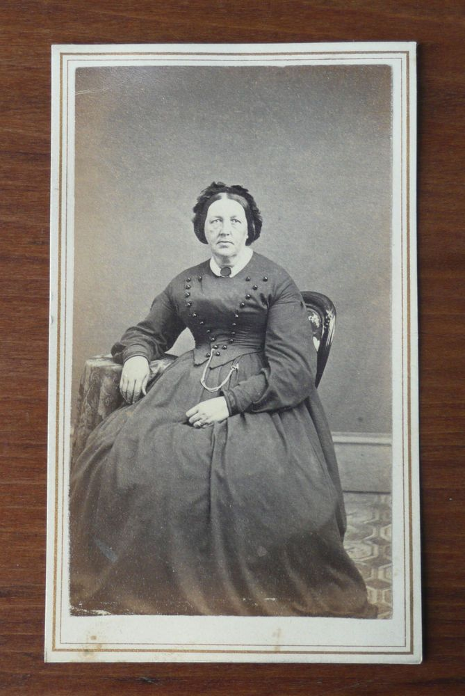 Civil War Era CDV Mature Woman Geo. P. Hopkins Photographer Albion NY  Tax Stamp