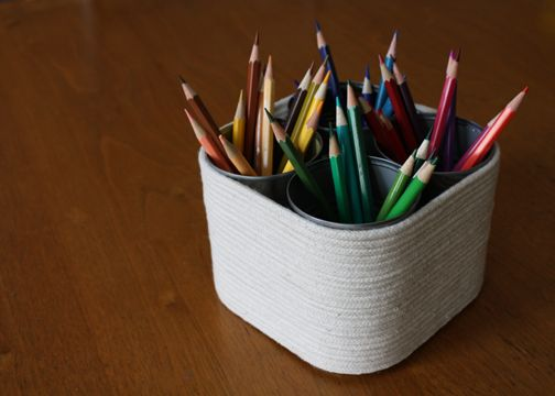 I like this idea for a pencil holder...  nothing too fancy, but it is solid and wouldn't tip easily...