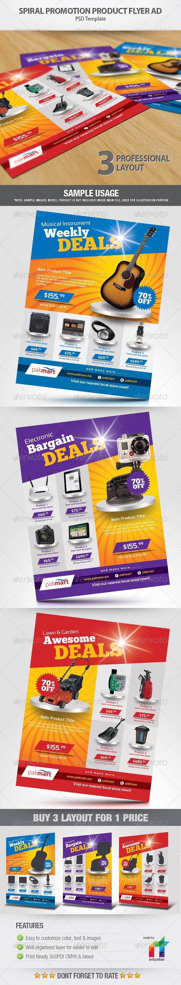 PSD Spiral Promotion Product Flyer Ad  Template • Only available here ➝ http://graphicriver.net/item/spiral-promotion-product-flyer-ad/2536578?ref=pxcr