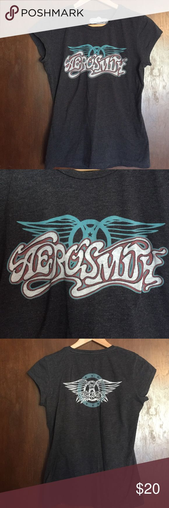 Aerosmith Women's T-Shirt Aerosmith junior's fitted t-shirt, charcoal gray cap sleeve, logo on front and back, sheer fabric, cotton blend, junior's size XL extra large (runs very small) , EUC excellent used condition Winterland Tops Tees - Short Sleeve