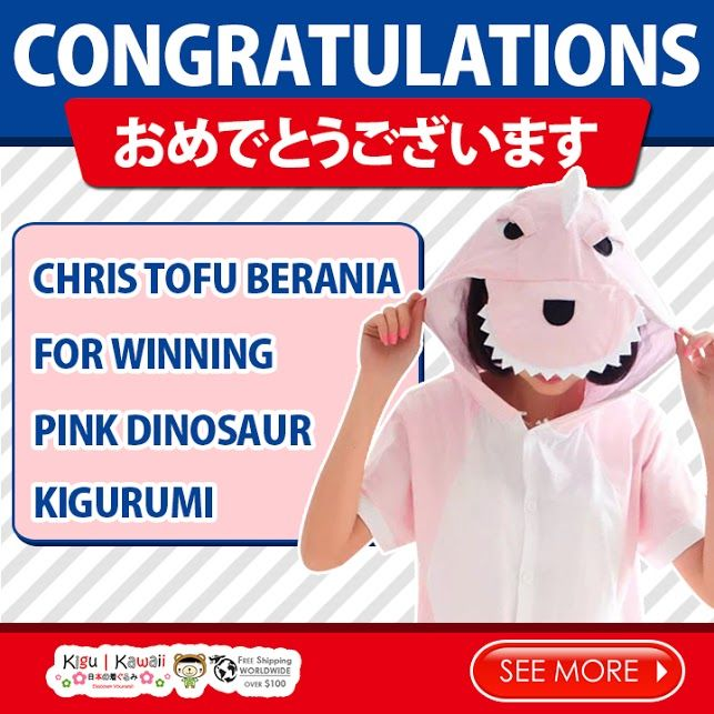 Our Lucky Charming Spring Kigurumi Giveaway winner is finally here! ヽ(^o^)ノ Congratulations to Chris Tofu Berania for winning Pink Dinosaur Spring Kigurumi! Please kindly message us on support@kigukawaii.com on how to claim your prize.  Our endless thank you to everyone who supported our giveaway! With so much gratitude, we would like to give everyone who participated the contest a discount code!   Here's your 10% discount #KiguKawaii lovers!  Coupon code: LoveKiguKawaii