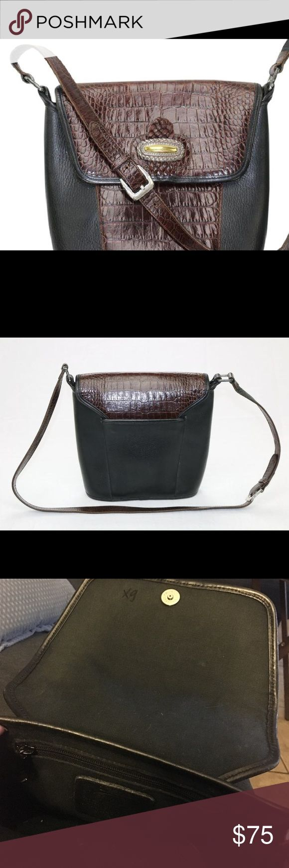 Brighton embossed crocodile finishes black & brown Brighton crossbody embossed crocodile bag finishes are black & brown. Excellent condition.  Registration number A 123386. Handbag has XG written on interior of bag as shown. Make all offers through offer option. Brighton Bags Crossbody Bags