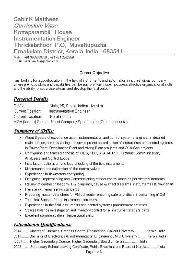Instrumentation Engineering Resume Sample How to create