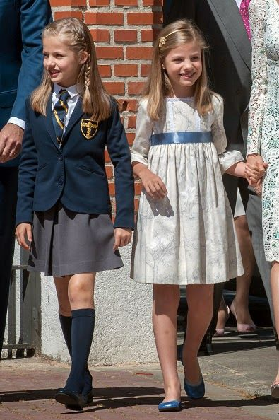 Infanta Sofia of Spain (R) attends the First Communion of Princess Leonor of Spain (L) on May 20, 2015 in Madrid, Spain.