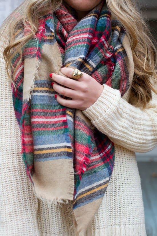 Plaid scarf, white sweater
