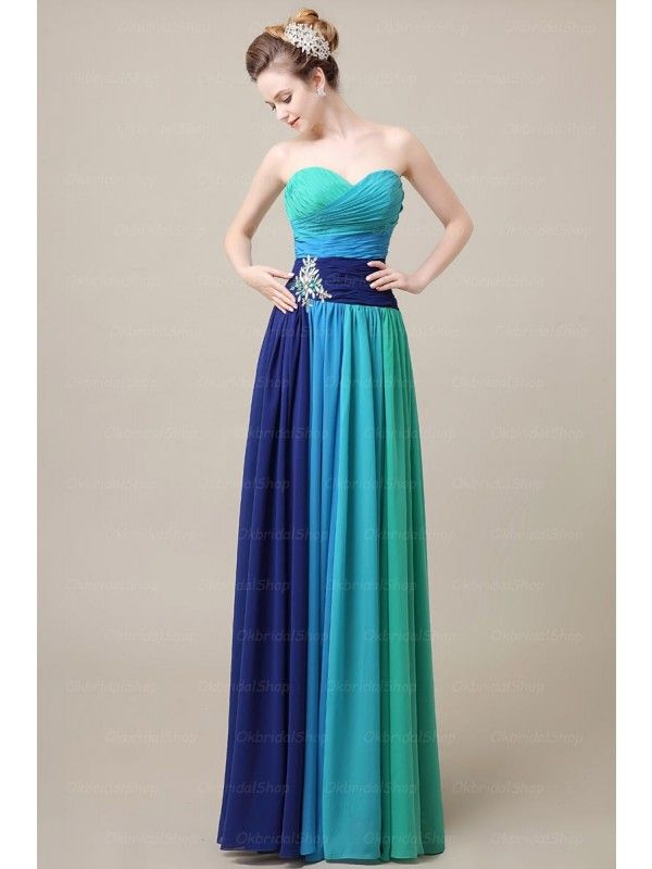 Long custom Prom Dress,strapless prom dress,cocktail dress,unique prom dresses, prom dresses 2016, gradient prom dresses, PD210143