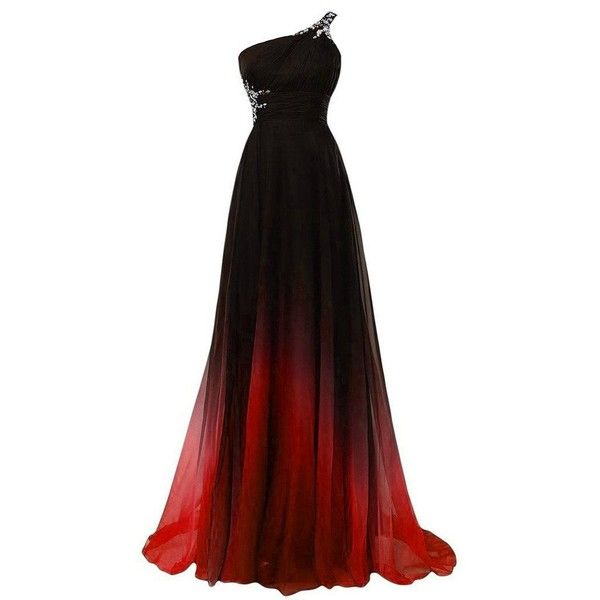 Lemai Long A Line Beaded Gradient Ombre Chiffon Formal Prom Evening... ($90) ❤ liked on Polyvore featuring dresses, chiffon dresses, prom homecoming dresses, a line dress, homecoming dresses and long chiffon dress