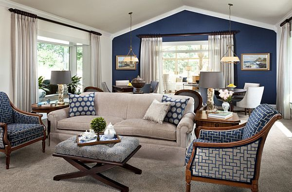 Traditional family room with blue and grey color palette