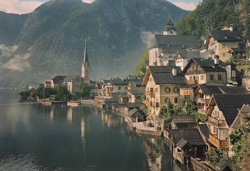 W. Robert Moore. Houses line the Lake of Hallstatt.  Hallstatt, Upper Austria Province, Austria.