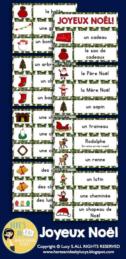 French Christmas Word Wall + Writing Templates + Graphic Organizers: Joyeux Noël