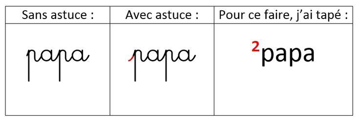 Astuce n°1 pour la police Cursive Standard ~ Elau