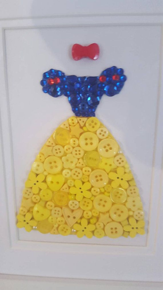 Disney Princess Button Art Wall Decor Handmade by Tooobabywithlove