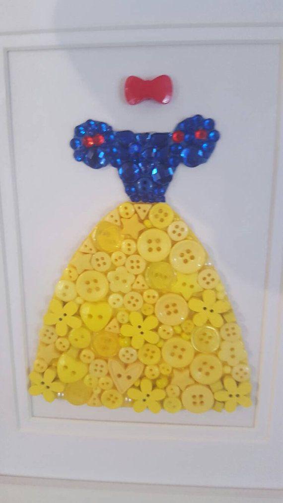 Disney Princess Button Art Wall Decor Handmade by Tooobabywithlove