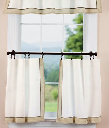 Linen Band Tier Curtains   Country Curtains