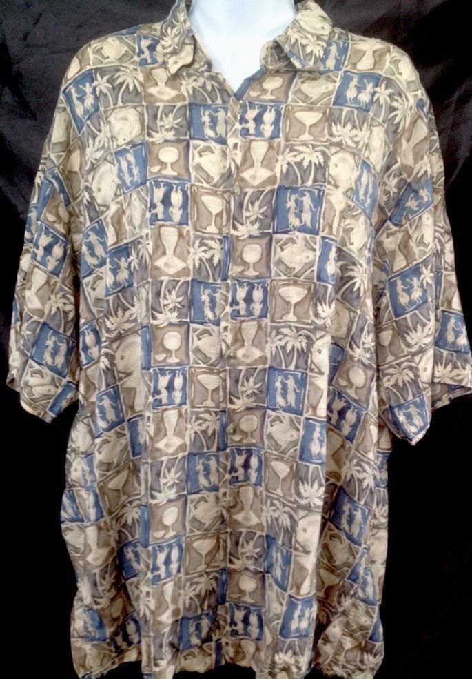 Mens Hawaiian Shirt XL Hula Girl Fish Palm Beer Blue Green Brown Campia Moda #CampiaModa #Hawaiian