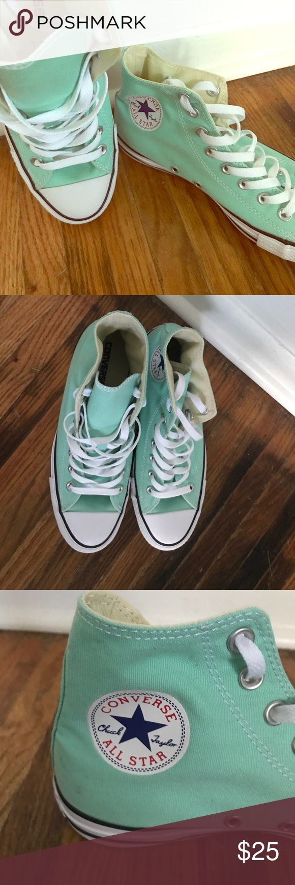 Teal Converse All Star (brand new) Women's 9/men's 7 Teal Converse All Star high tops. Brand new. Never worn (gift, didn't fit). No scuffs or wear. Converse Shoes Sneakers
