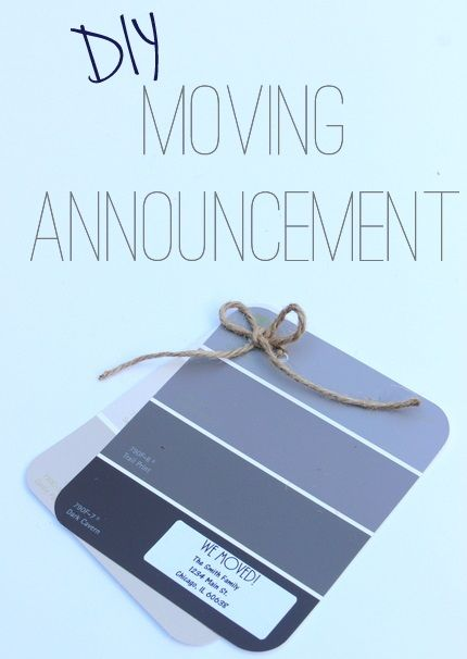 Use paint swatches to make a FREE new home announcement. We love an easy DIY craft project.
