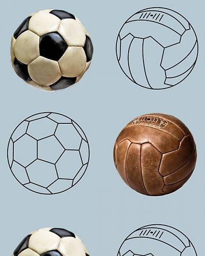 Behang voetbal blauw