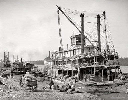 "Vicksburg, Mississippi, circa 1900. ""The levee."" And the sternwheeler Falls City."