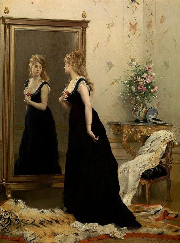 Gustave Léonhard de Jonghe (Belgian painter) 1829 - 1893 Voor de Spiegel (In Front of the Mirror), s.d. oil on panel 72 x 54 cm. Koninklijk Museum voor Schone Kunsten, Antwerp, Belgium