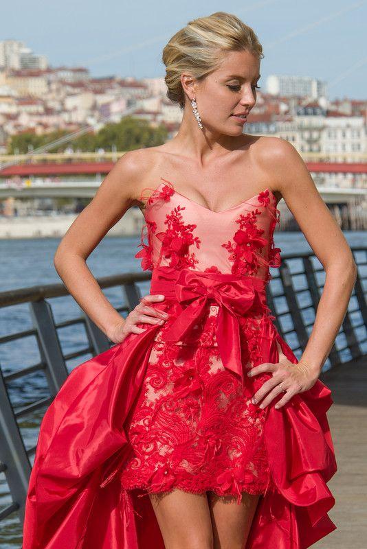Robe Couture Bustier Tulle Dentelle Taffetas Noeud Rouge. Ludivine Guillot, création sur mesure à Lyon.