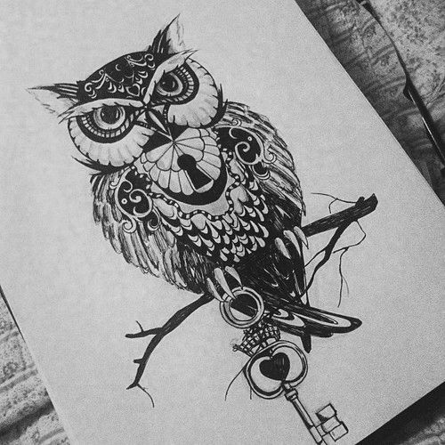 Owl tattoo design. I am so getting this on the back of my neck to cover up the hideous tat thats on my back/neck---absolutely love love this!