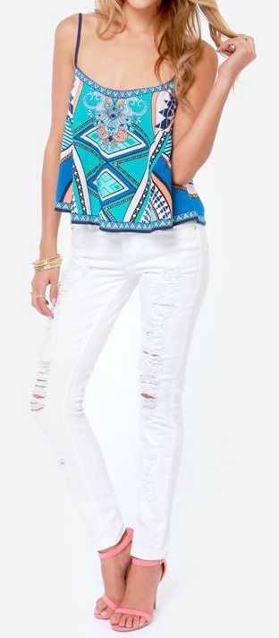 Scarf Print Top + Distressed White Denim