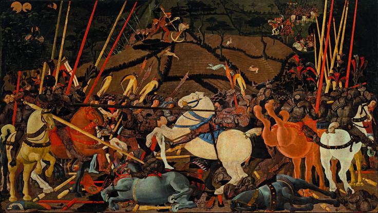 Nel 1438 Lionardo Bartolini Salimbieni chiese a Paolo di Dono (detto Paolo Uccello) di realizzare un'opera che raccontasse la battaglia tra fiorentini e senesi avvenuta qualche anno prima, nel 1432, battaglia della quale, il Salimbieni stesso era stato protagonista.    Il fatto storico si riferisce allo scontro tra senesi, alleati con Milano guidati da Bernardino Ubaldini della Carda, e fiorentini, guidati da Niccolò da Tolentino che, nonostante l'inferiorità numerica, decise di attaccare il…