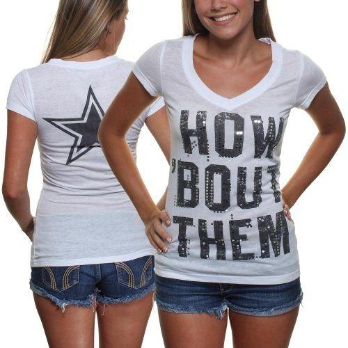 Dallas Cowboys Ladies Pansy V-Neck T-Shirt - White {So CUTE!! (: ~Kari}