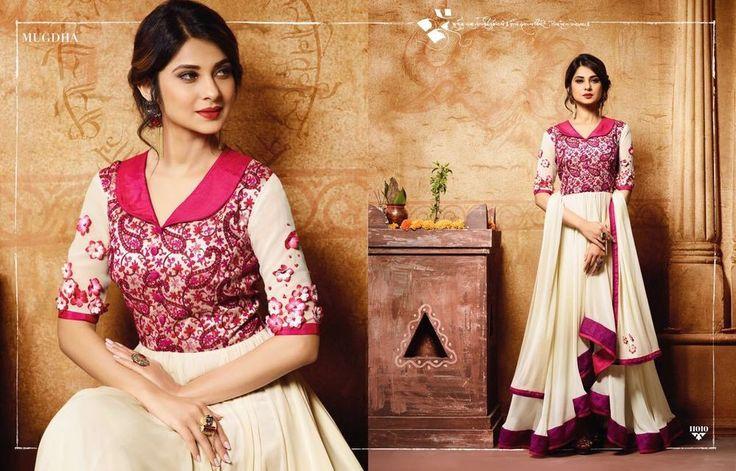 Indian salwar kameez georgette high low dress embroidery wedding girls Anarkali #Handmade #SalwarKameez
