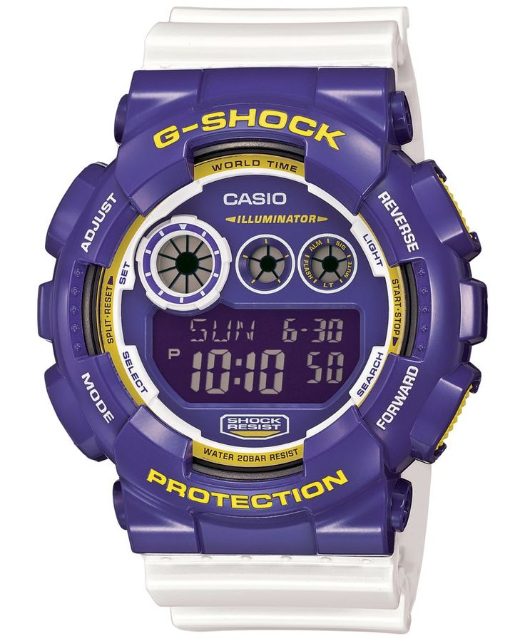 G-Shock Men's Digital White Bracelet Watch 55x51mm GD120CS-6