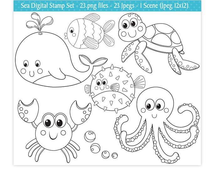 Mar animales sellos digitales, bajo el mar sellos sellos digitales, océano sellos, imágenes prediseñadas de animales de mar, animales del mar lindo, Scrapbooking, uso comercial