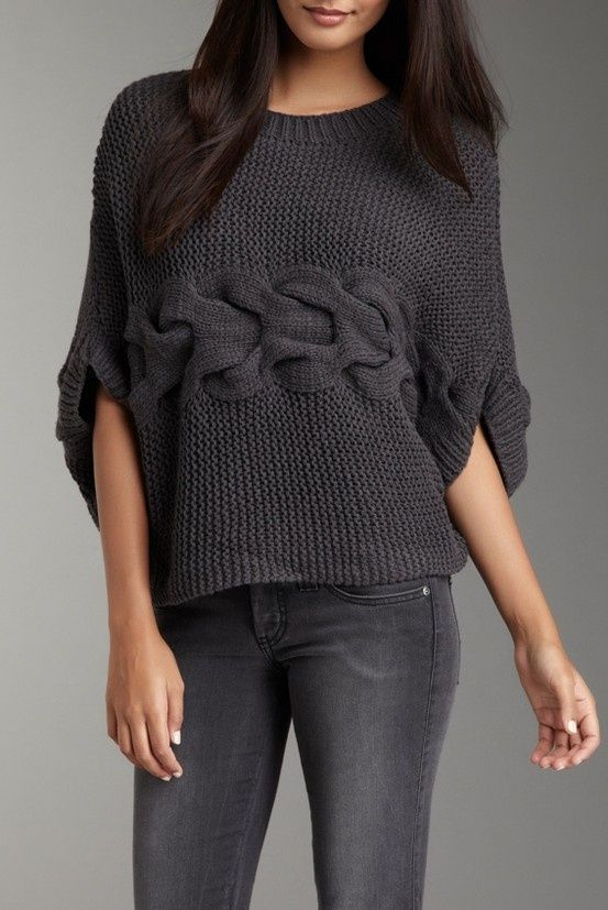 Sideways knit sweater--with central cable detail.: