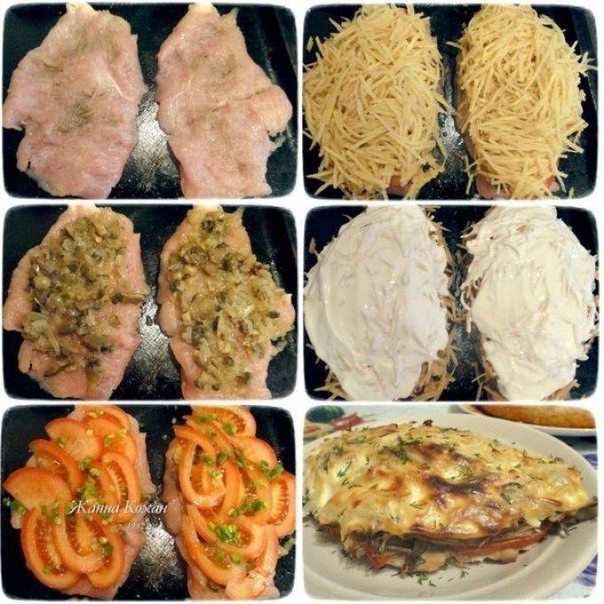 Csirkemell burgonyás-zöldséges takaróval