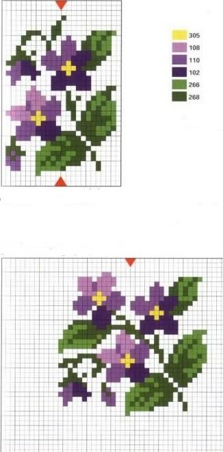 violets cross stitch miniature needlework charts