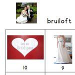 Thema trouwen aftelkalender en woordkaarten